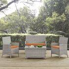 Azucena 4 Piece Sofa Set Group with Cushions Fabric: Orange