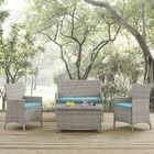 Azucena 4 Piece Sofa Set Group with Cushions Fabric: Turquoise