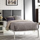 Della Fabric Upholstered Platform Bed Frame Color: White, Headboard Color: Gray, Size: Twin