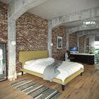 Queen Upholstered Platform Bed Color: Green