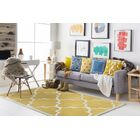 Alfson Hand-Tufted Gold/Ivory Area Rug Rug Size: Rectangle 4' x 6'