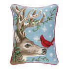 Winter Nest Reindeer Needlepoint Lumbar Pillow