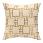 Dotted Line Embroidered Linen Throw Pillow Color: Citron