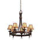 Americana 7-Light Shaded Chandelier Shade Type: Clear Beaded Tapered, Finish: Copper Claret