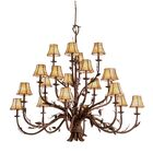 Ponderosa 20-Light Shaded Chandelier Shade Type: Golden Beige Organza