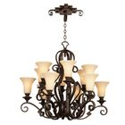 Ibiza 12-Light Shaded Chandelier Finish: Antique Copper, Shade Type: Medium Beige Linen