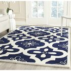 Wilkin Moroccan Hand-Tufted Wool Dark Blue/Ivory Area Rug Rug Size: Rectangle 6' x 9'