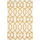 Dhurries Wool Ivory/Yellow Area Rug Rug Size: Rectangle 6' x 9'