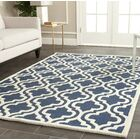 Darla Hand-Tufted Wool Navy/Ivory Area Rug Rug Size: Rectangle 5' x 8'
