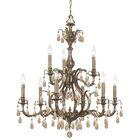 Dawson 9-Light Candle Style Chandelier Crystal Type: Swarovski Strass, Finish: Antique Brass