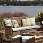 Key Biscayne Patio Sofa with Cushions Color: Dupione Bamboo