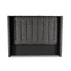 Hansen Vertical Channel Tufting Upholstered Wingback Headboard Color: Charcoal, Size: Mid Height King