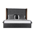 Harborcreek Button Tufted Upholstered Platform Bed Color: Charcoal, Size: Mid Height Queen