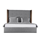 Harborcreek Button Tufted Upholstered Platform Bed Color: Gray, Size: High Height California King