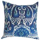 Clara Ikat Cotton Throw Pillow Color: Navy Blue, Size: 22
