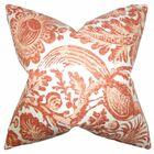 Cadeau Floral Throw Pillow Color: Orange, Size: 22