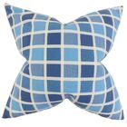 Gali Plaid Cotton Throw Pillow Color: Blue, Size: 24