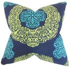 Ilona Damask Cotton Throw Pillow Color: Turquoise, Size: 22
