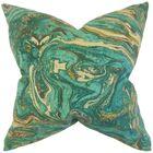 Ceylon Geometric Throw Pillow Color: Aqua Gold, Size: 22