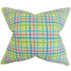 Sandwell Plaid Floor Pillow Color: Pink