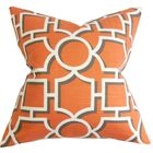Kenn Geometric Floor Pillow Color: Orange