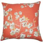 Albertine Floral Floor Pillow Color: Papaya