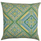 Delancy Geometric Bedding Sham Size: Standard, Color: Green/Yellow