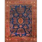 Sarouk Hand-Knotted Wool Blue Area Rug Rug Size: Rectangle 9' x 12'