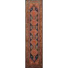 One-of-a-Kind Malayer Hand-Knotted 4' x 14' Wool Red/Blue Area Rug
