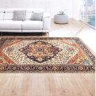 Serapi Hand-Knotted Wool Ivory/Navy Area Rug Rug Size: Rectangle 8' x 10'
