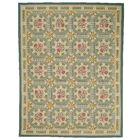 Aubusson Hand-Woven Wool Green/Beige Area Rug Rug Size: Rectangle 9'7