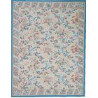 One-of-a-Kind Aubusson Hand-Woven Wool Blue/Beige/Ivory Area Rug Rug Size: Rectangle 11'1