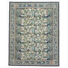 One-of-a-Kind Aubusson Hand-Woven Wool Green/Blue Area Rug Rug Size: Rectangle 8'2