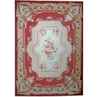 One-of-a-Kind Aubusson Hand Woven Wool Red/Beige Area Rug Rug Size: Rectangle 13' x 17'11