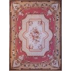Aubusson Hand Woven Wool Coral/Beige Area Rug