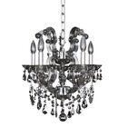 Brahms 5-Light Candle Style Chandelier Crystal: Firenze Smoked Fleet Argentine