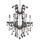 Brahms 6-Light Candle Style Chandelier Crystal: Firenze Smoked Fleet Argentine