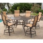 Buariki 7 Pieces Height-Dining Set with Umbrella