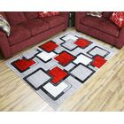 Passion Gray/Red Area Rug Rug Size: 5'3
