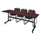 84'' W Marin Training Table with Chairs Tabletop Finish: Mahogany/Black