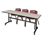 84'' W Marin Training Table with Chairs Tabletop Finish: Maple/Burgundy