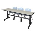 84'' W Marin Training Table with Chairs Tabletop Finish: Maple/Gray