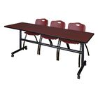 84'' W Marin Training Table with Chairs Tabletop Finish: Mahogany/Burgundy