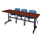 84'' W Marin Training Table with Chairs Tabletop Finish: Cherry/Blue