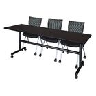 84'' W Marin Training Table with Chairs Tabletop Finish: Mocha Walnut