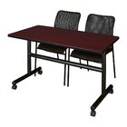 Marin Training Table with Chairs Tabletop Finish: Mahogany, Size: 29