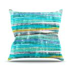 Fancy Stripes by Frederic Levy-Hadida Throw Pillow Color: Aqua, Size: 26'' H x 26'' W x 1