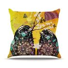 Birds In Love by alyZen Moonshadow Throw Pillow Color: Yellow/Orange, Size: 26'' H x 26'' W x 1