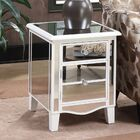 Romarin Mirrored End Table Table Top Color: Silver, Table Base Color: White