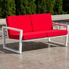 Vero Loveseat with Cushions Finish: Textured White, Fabric: Logo Red